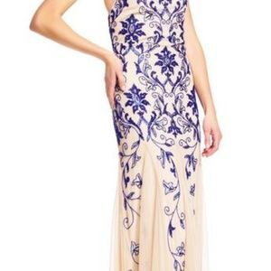 Adrianna Papell Dresses - Adrianna Papell - Beaded Halter Neck A-line Dress